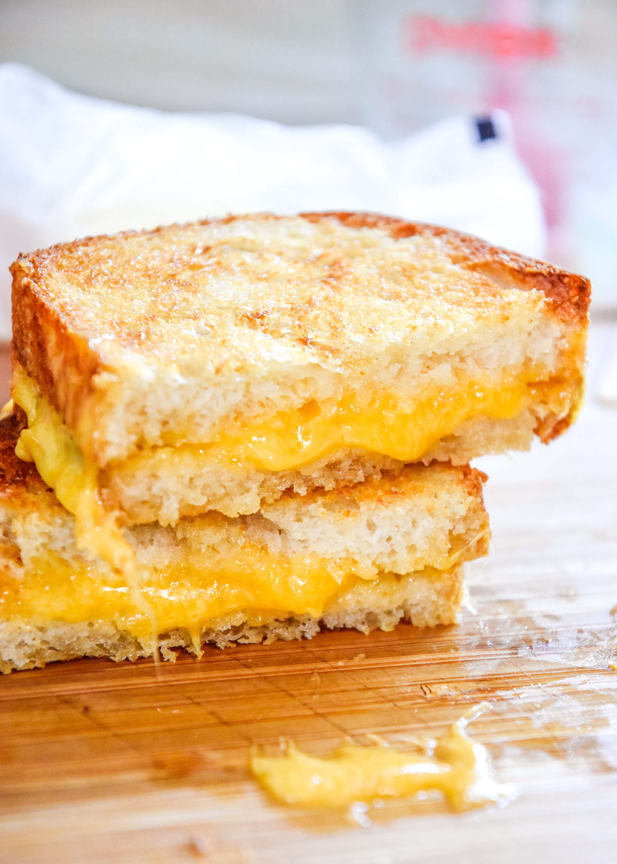 air fryer grilled cheese sandwich cut in half