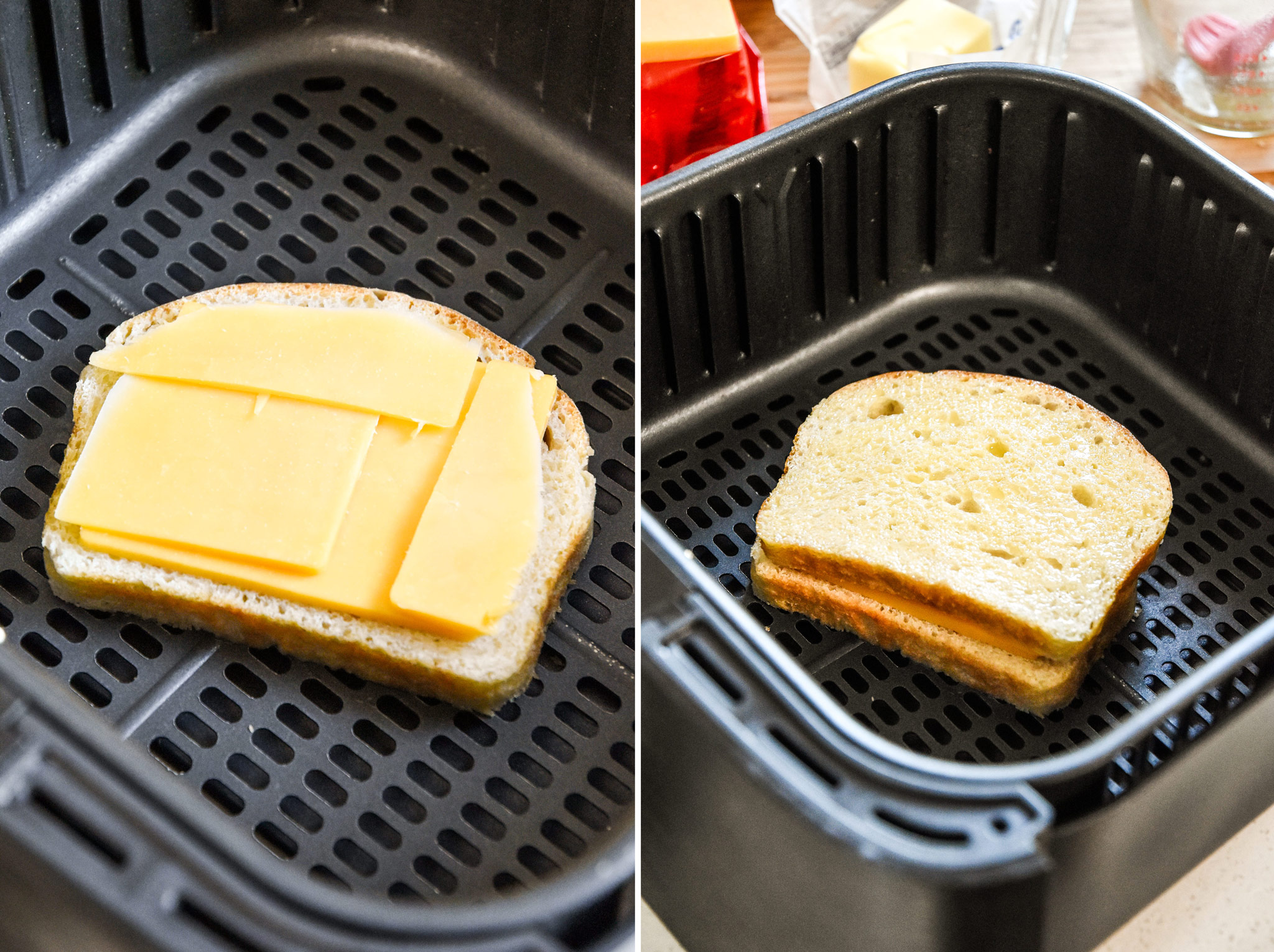 assembling a grilled cheese sandwich in an air fryer