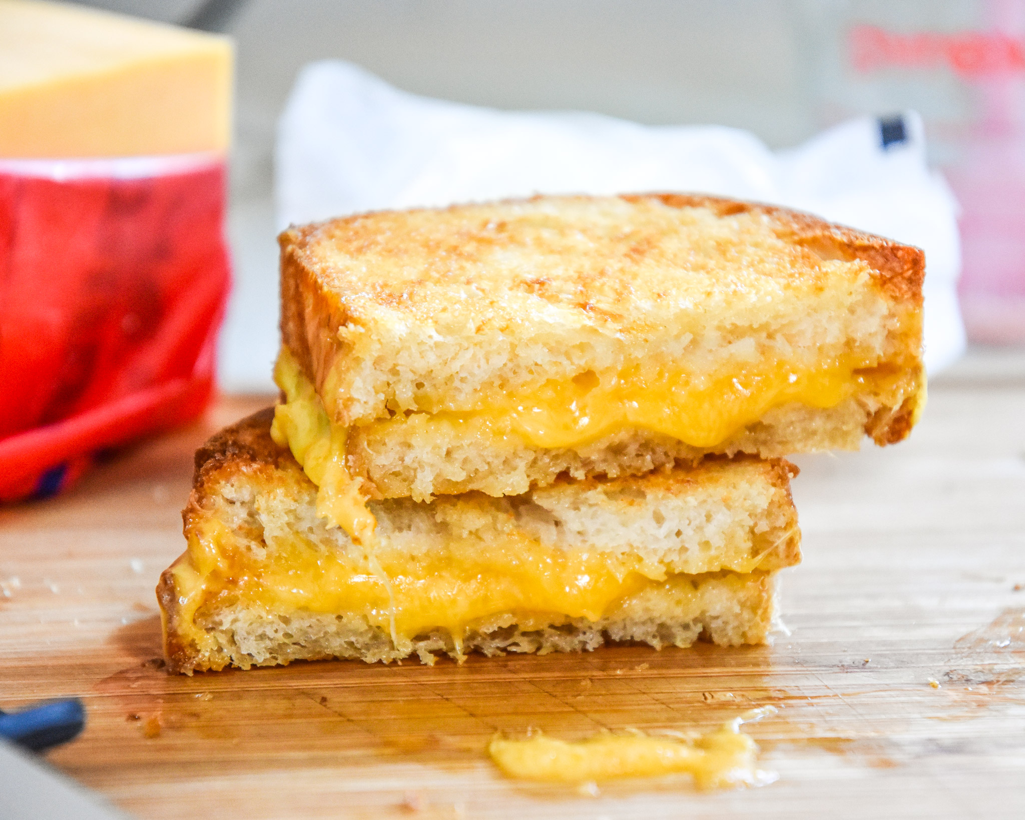 an air fryer grilled cheese sandwich cut in half