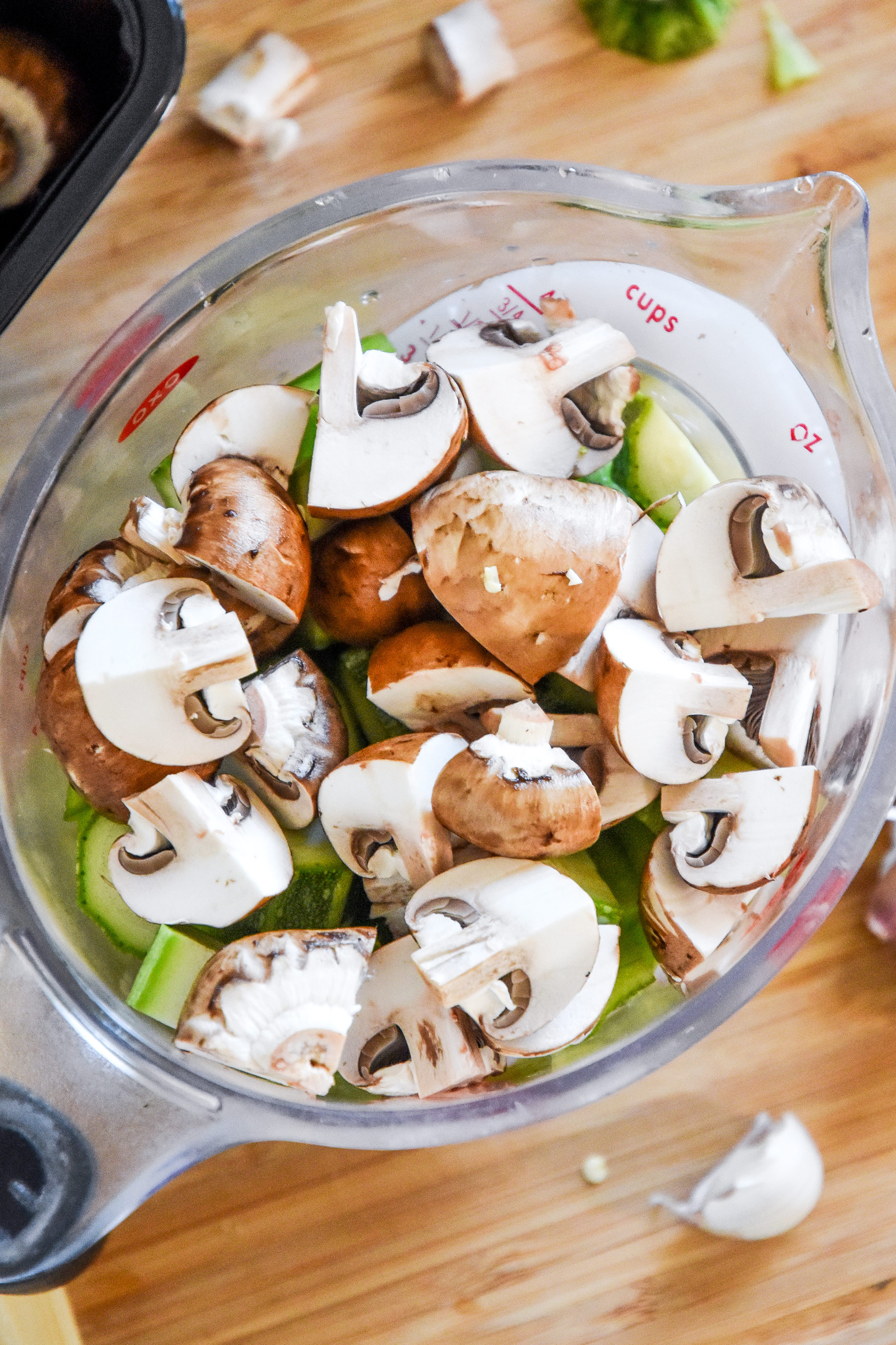 quartered mushrooms for the roasted veggie pesto pasta