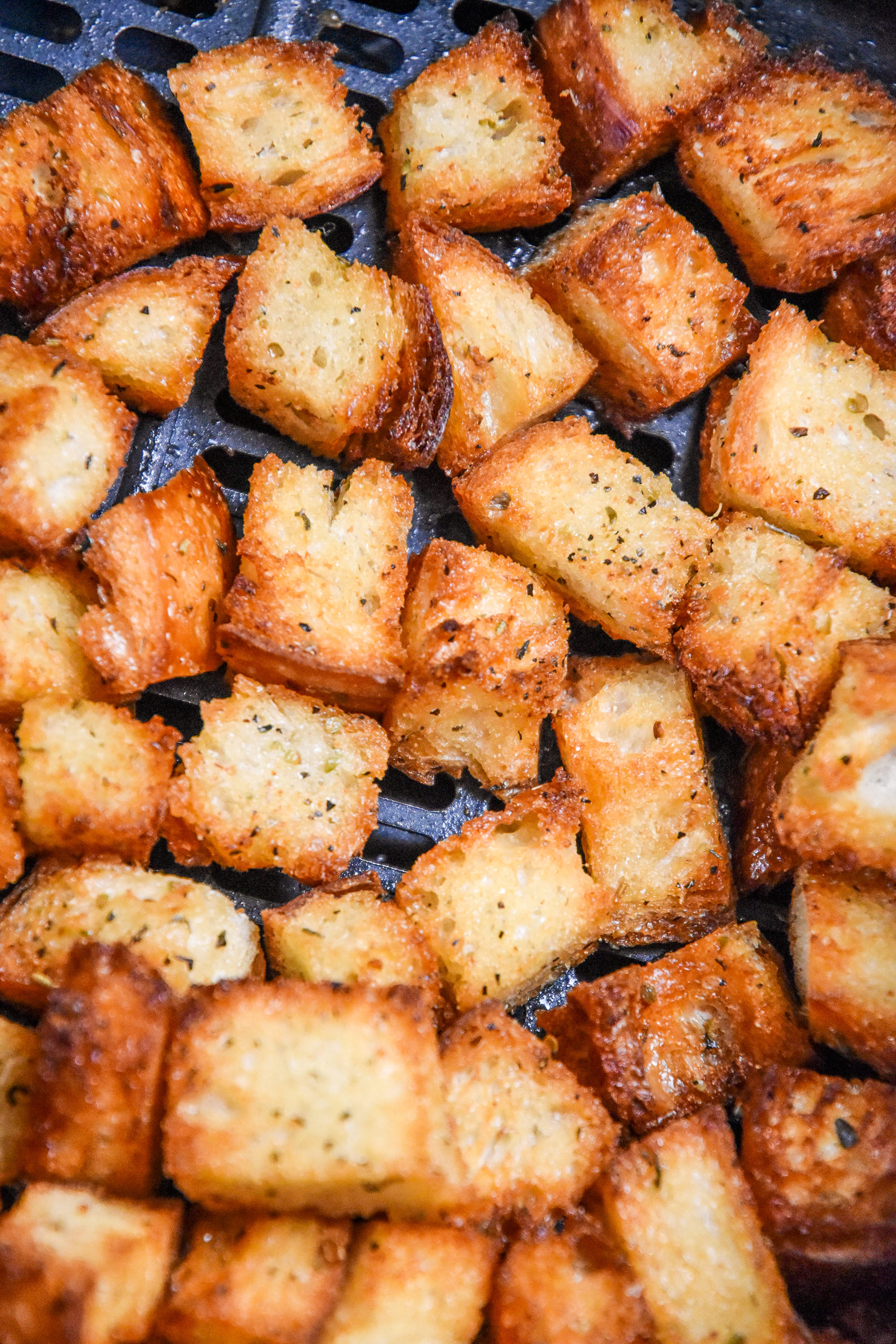 cooked croutons in an air fryer.
