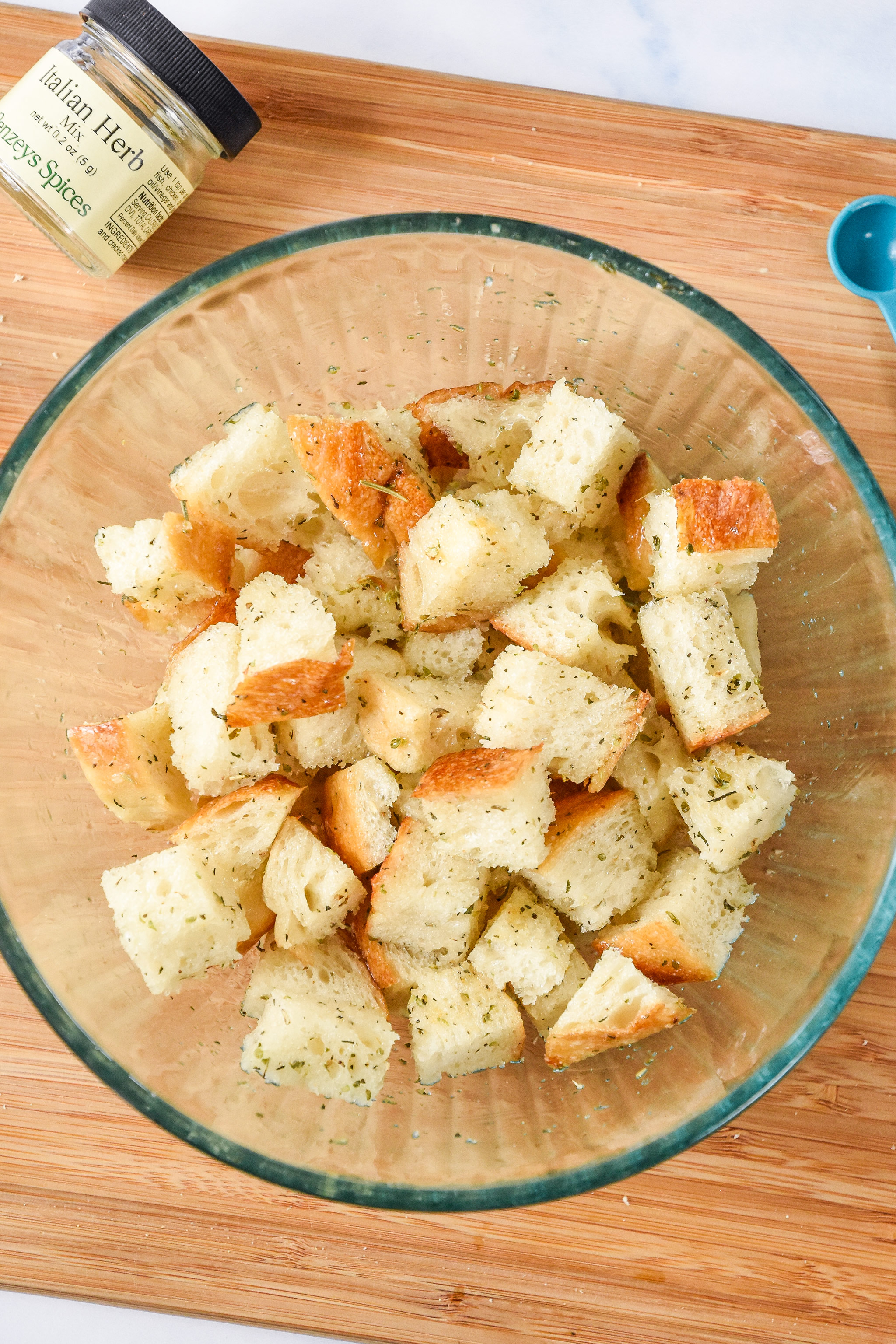 bread cubes in a bowl prepared to make croutons.