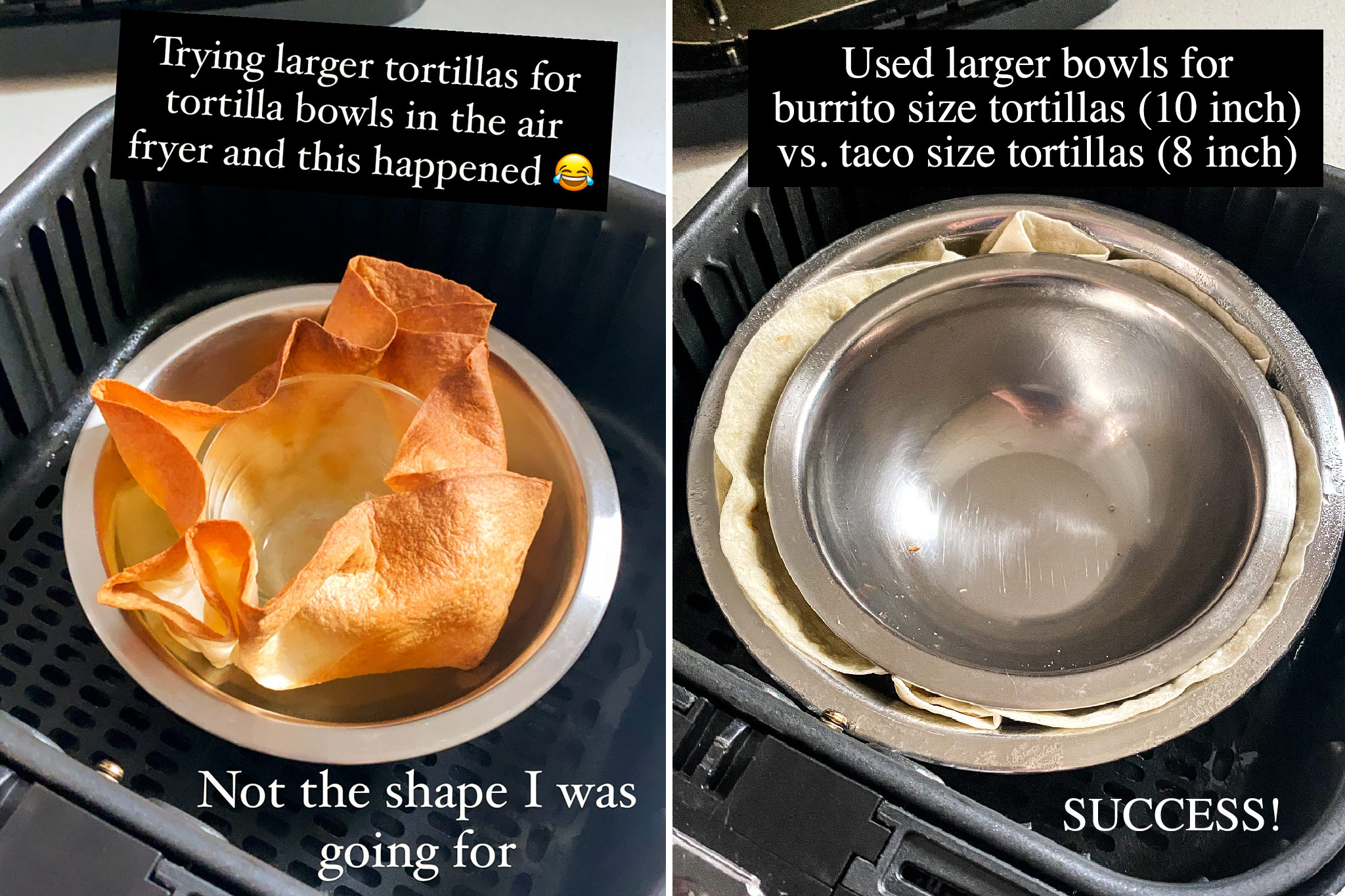 a test using a large burrito size tortilla in an air fryer