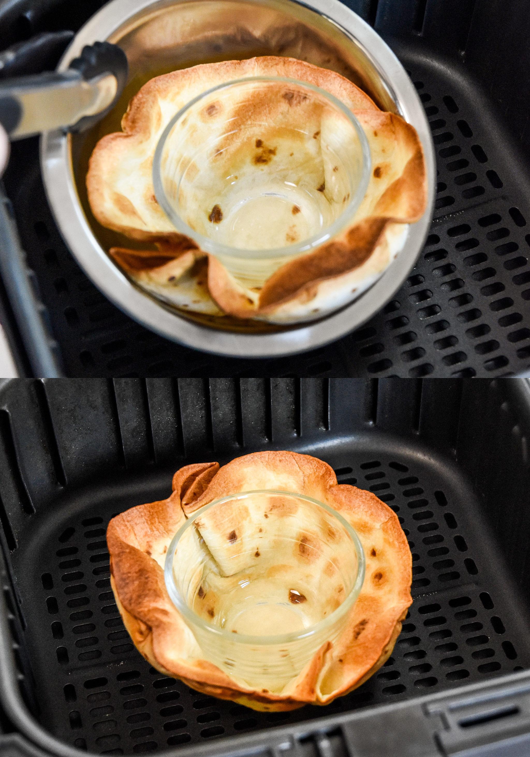 cooking a flour tortilla in an air fryer into a bowl shape