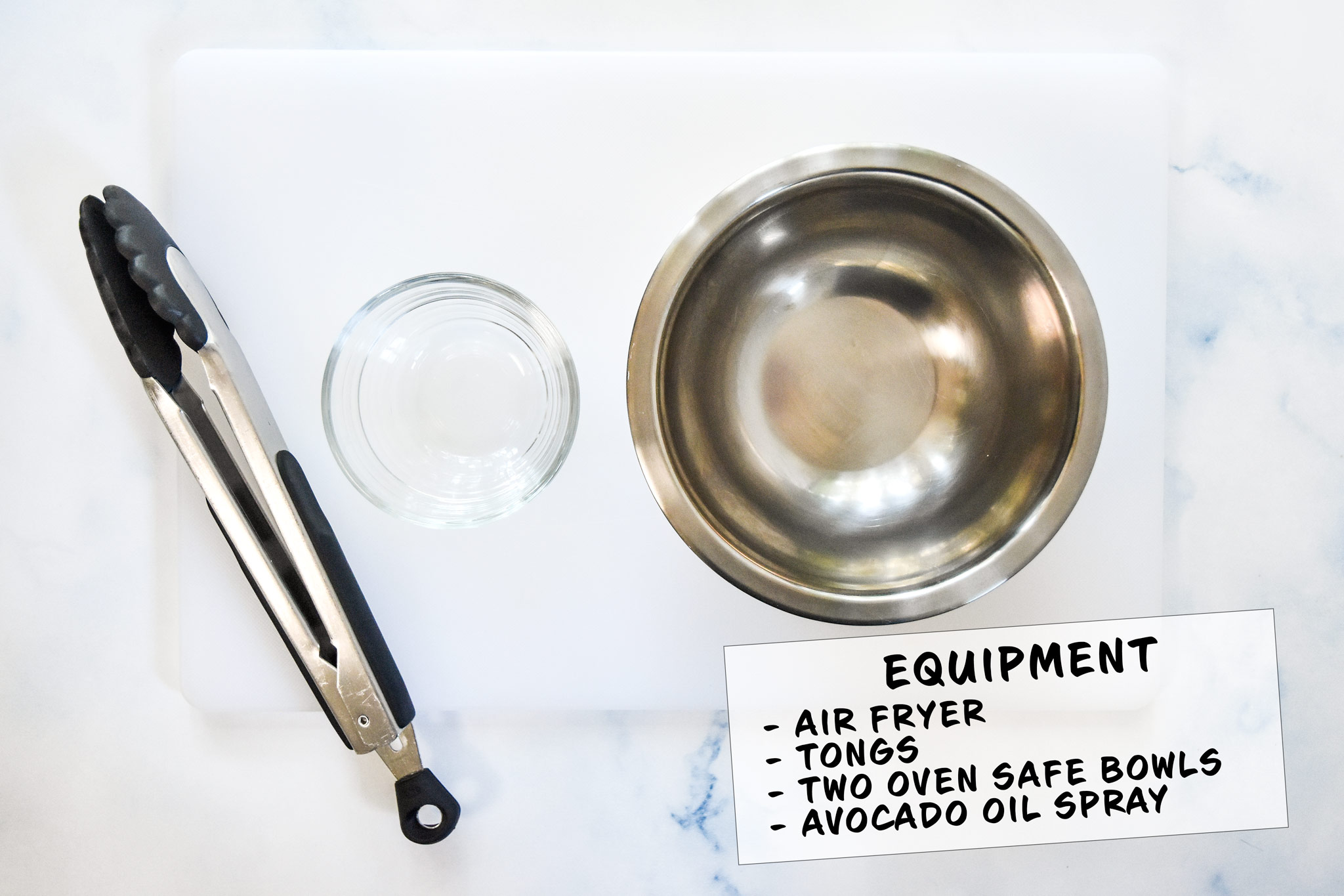 equipment for making air fryer flour tortilla bowls including tongs and oven safe bowls