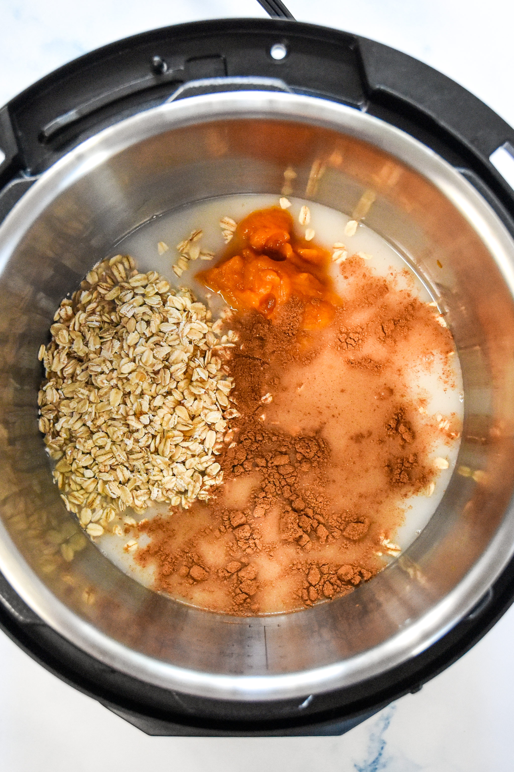 everything in the instant pot for the pumpkin spice oatmeal.