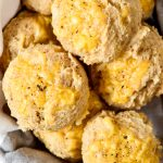 pancake mix cheddar drop biscuits in a basket