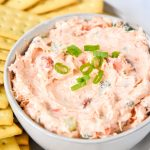 hot smoked salmon cream cheese dip being served in a bowl with crackers.