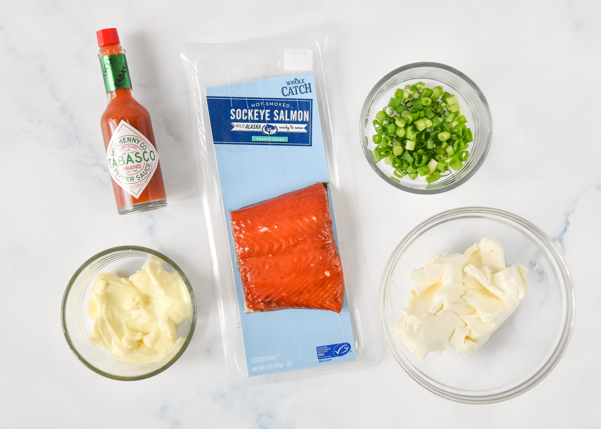 ingredients for the smoked salmon dip.
