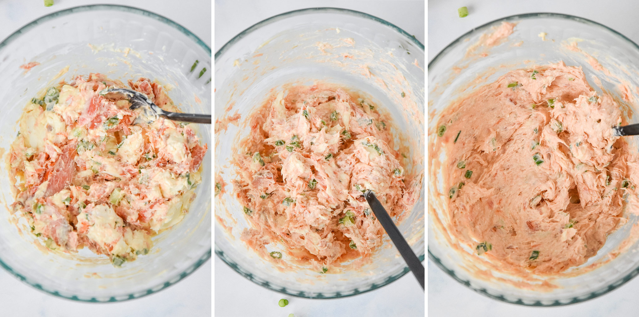 three photos of the hot smoked salmon cream cheese dip being stirred up.