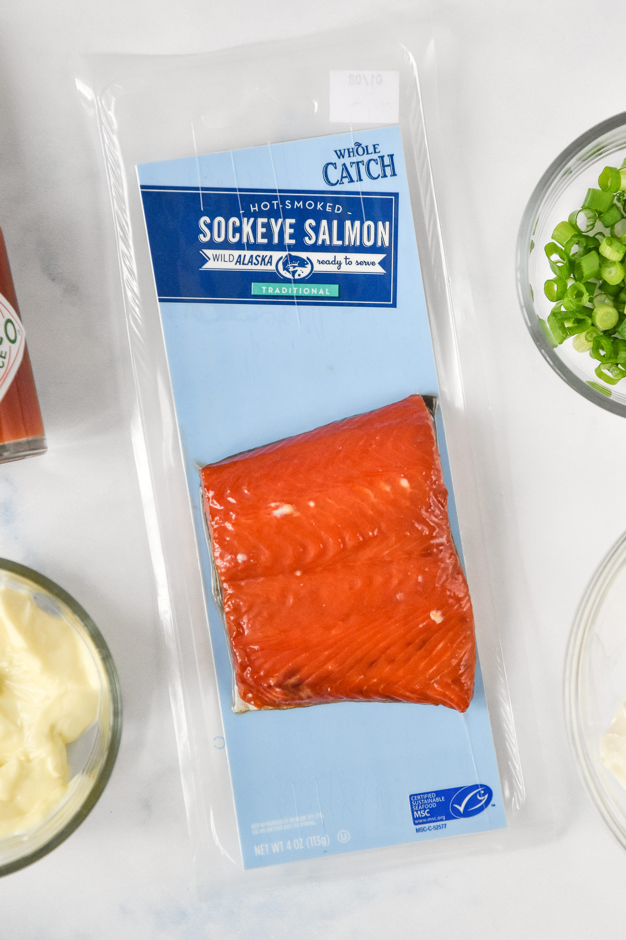 close up of the package of the smoked salmon.