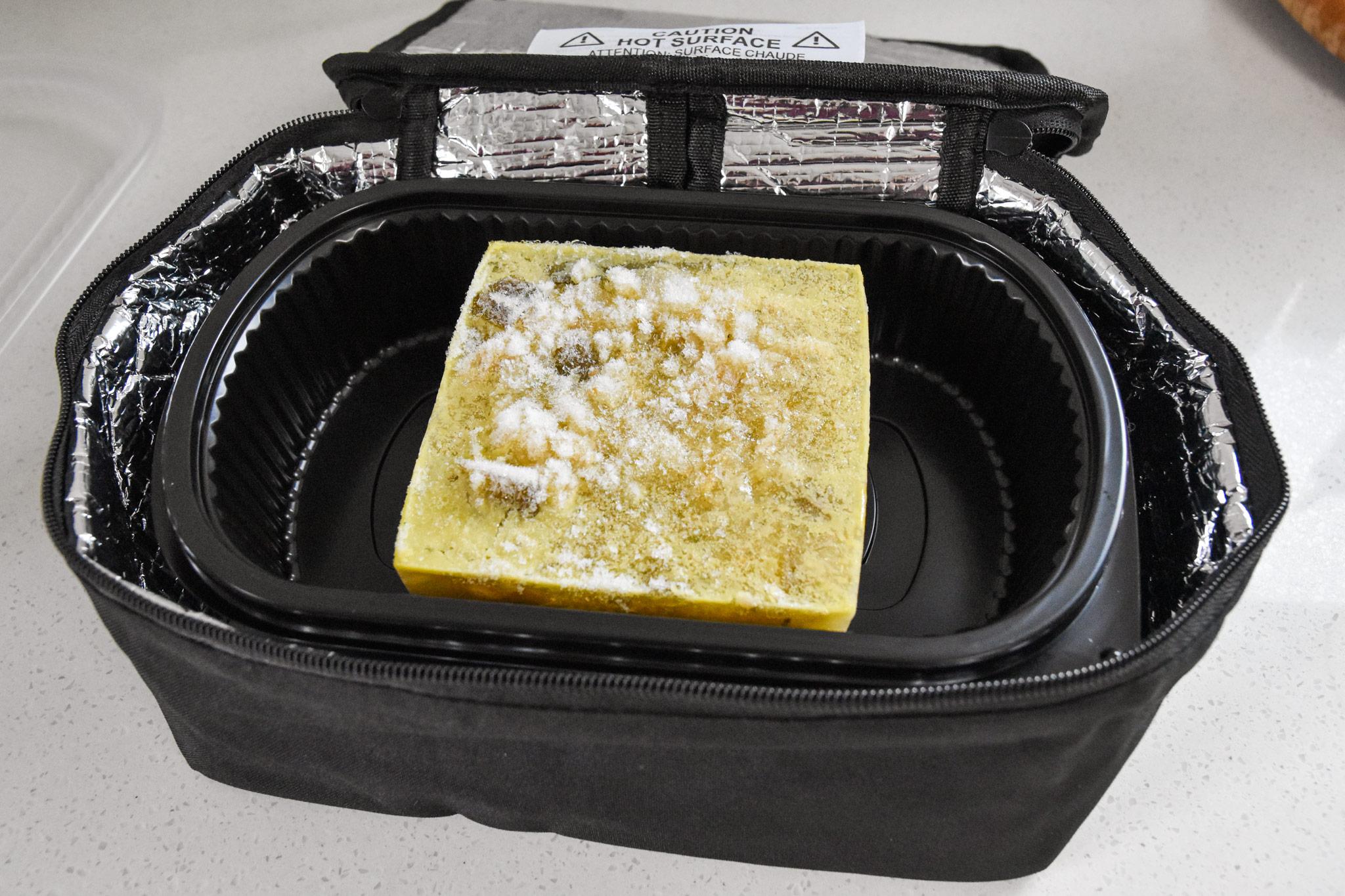cube of soup inside the hotlogic mini