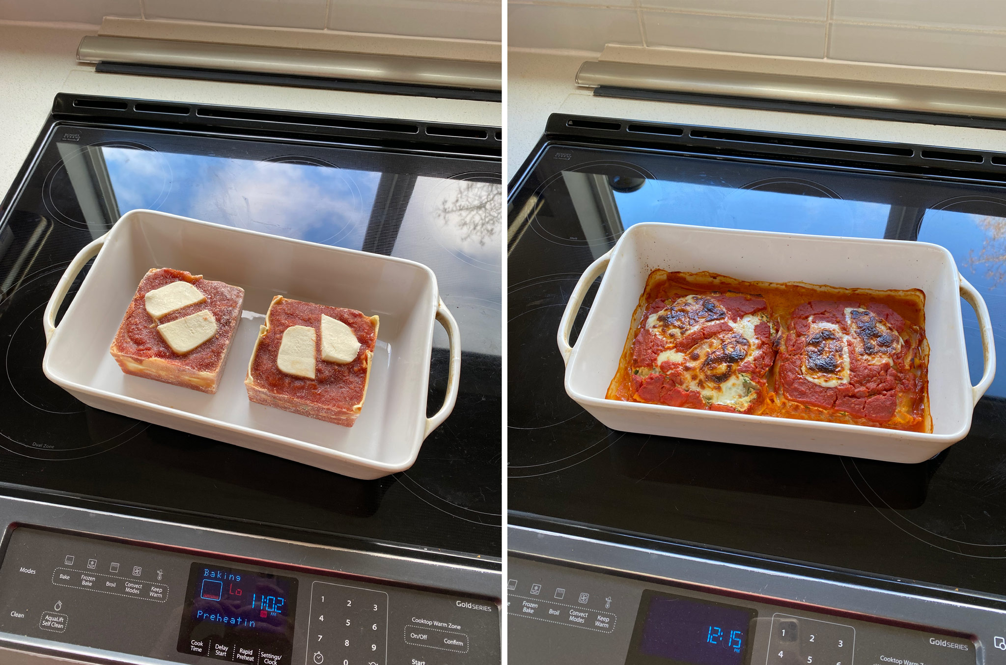 lasagna reheated in the oven before and after.