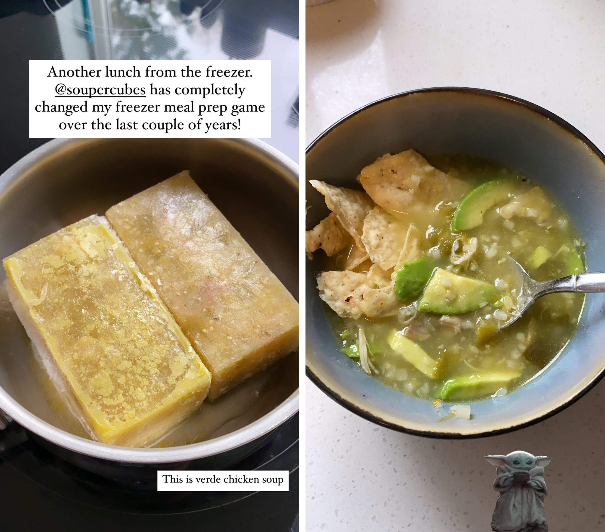 before and after heating cubes of soup on the stove top.