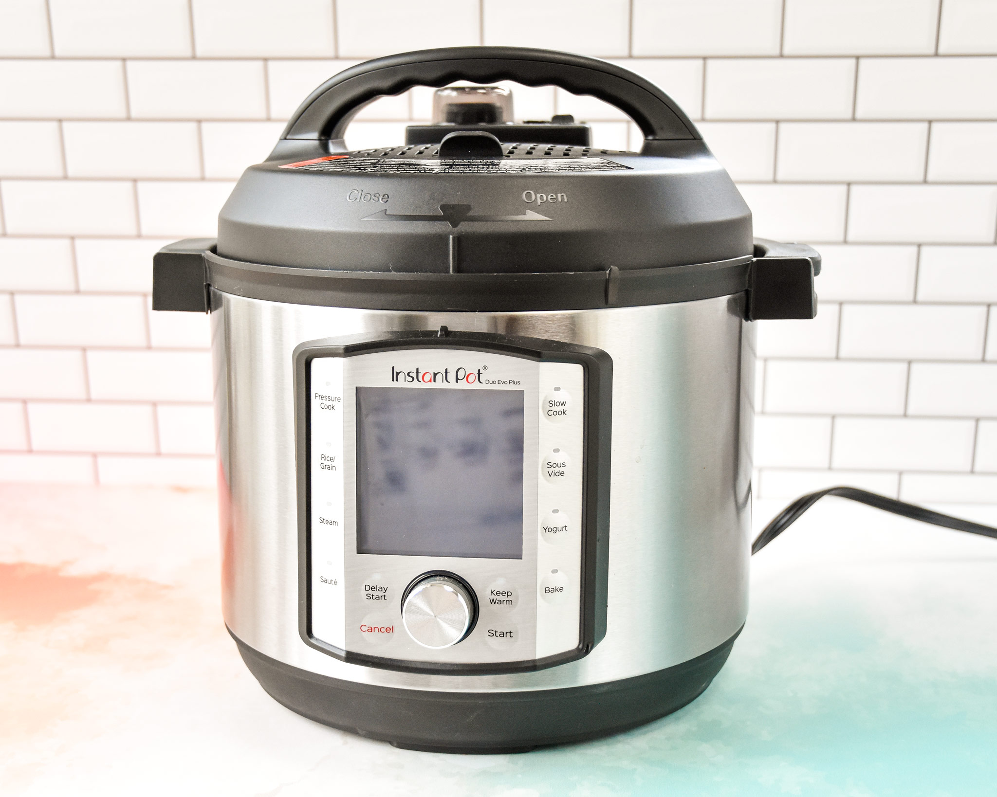 instant pot on a counter.