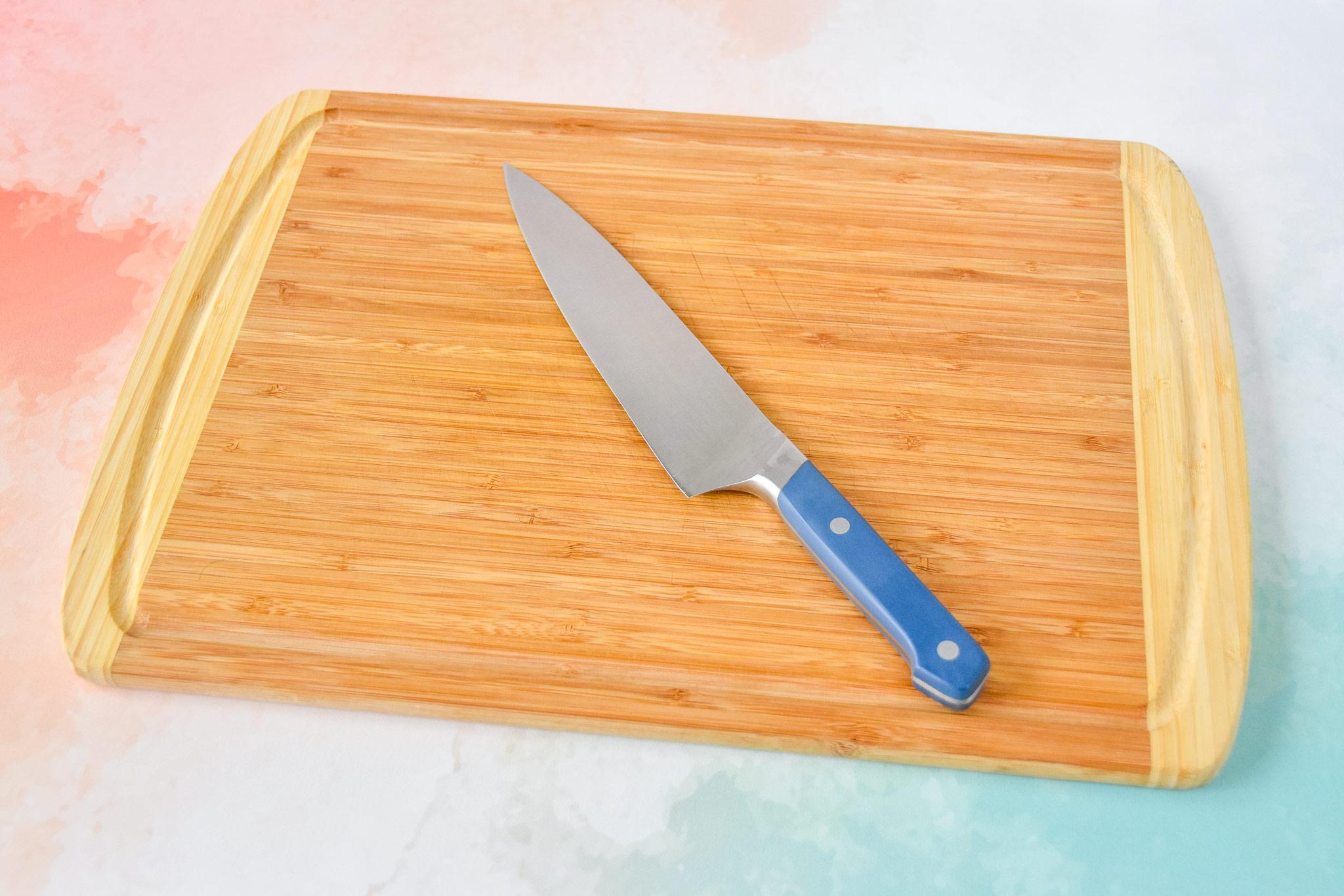 sharp knife and cutting board.