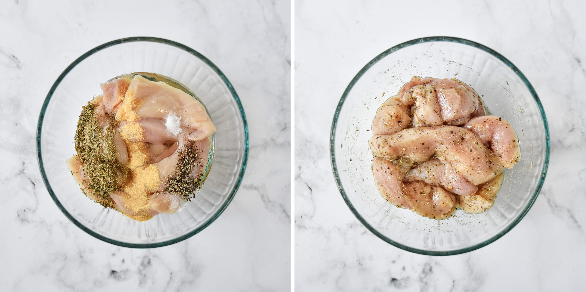 before and after mixing the ingredients to marinate the air fryer chicken tenders.