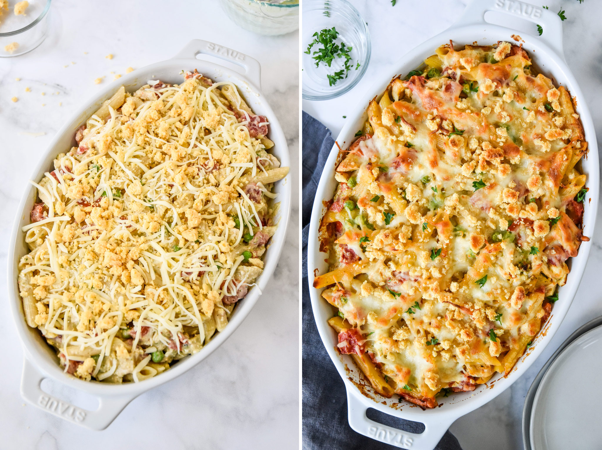 before and after baking the creamy pesto pasta chicken bake dish.