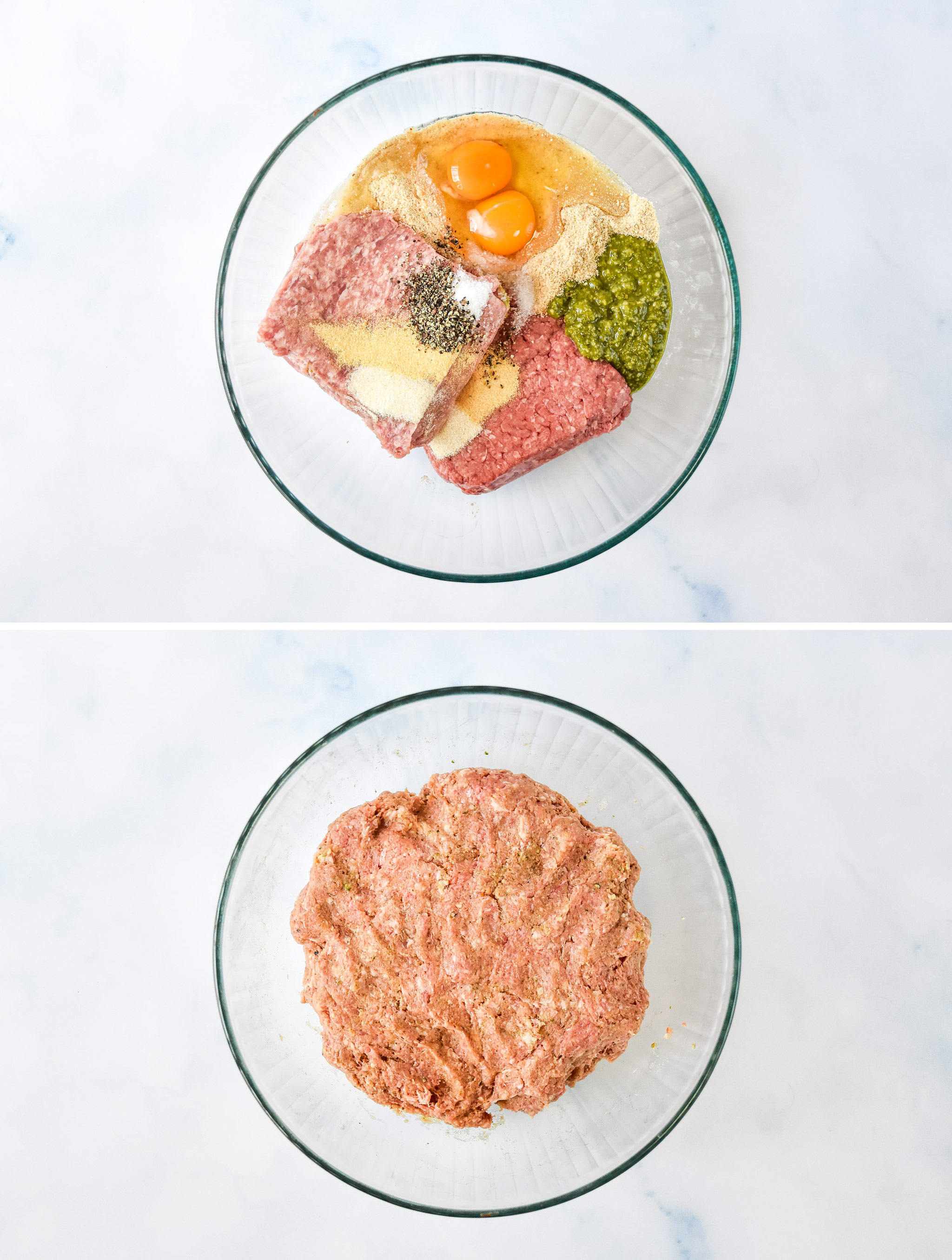 before and after mixing all the meatball ingredients together in a glass bowl.