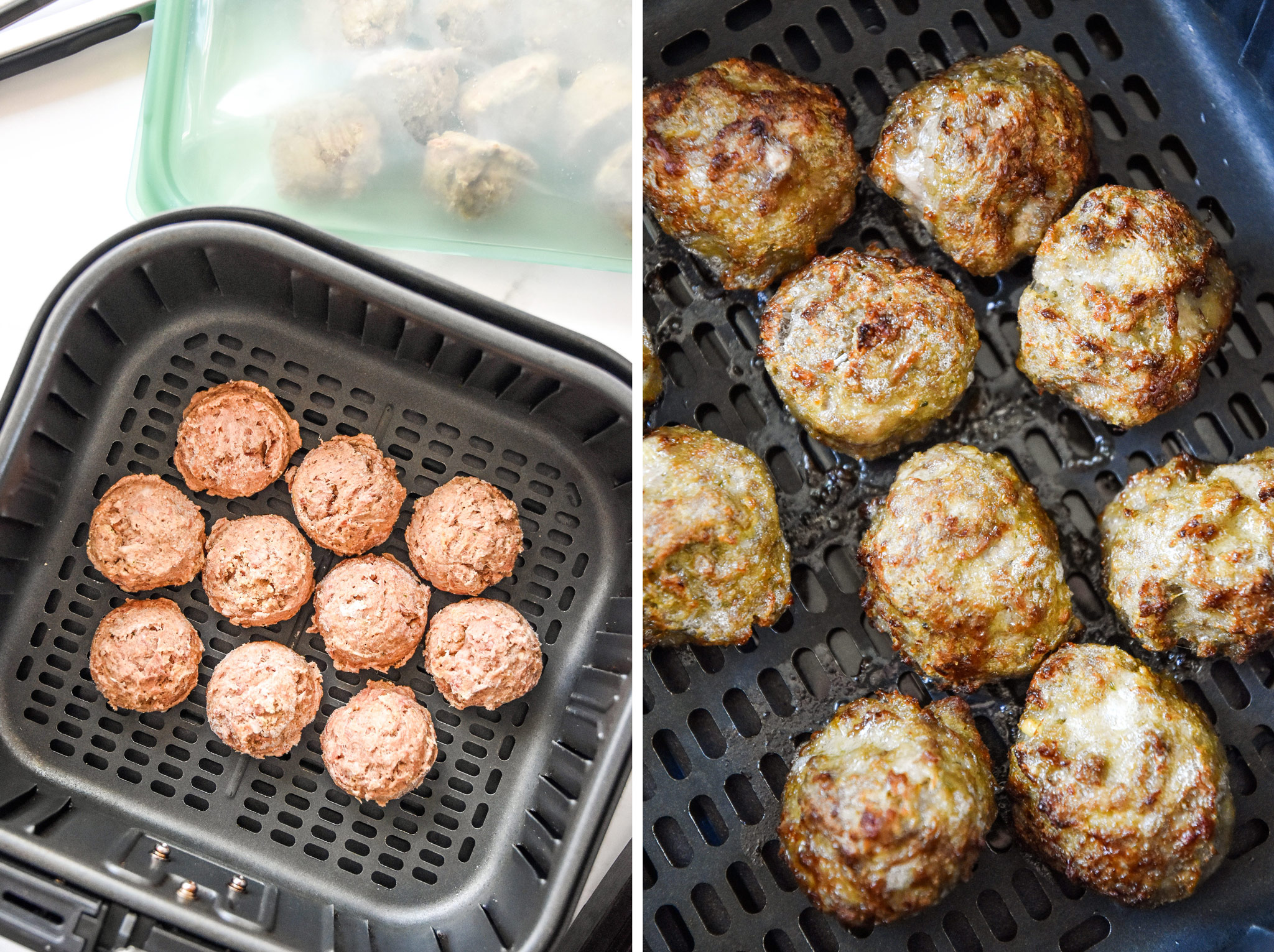 easy freezer friendly meatballs made in the air fryer.