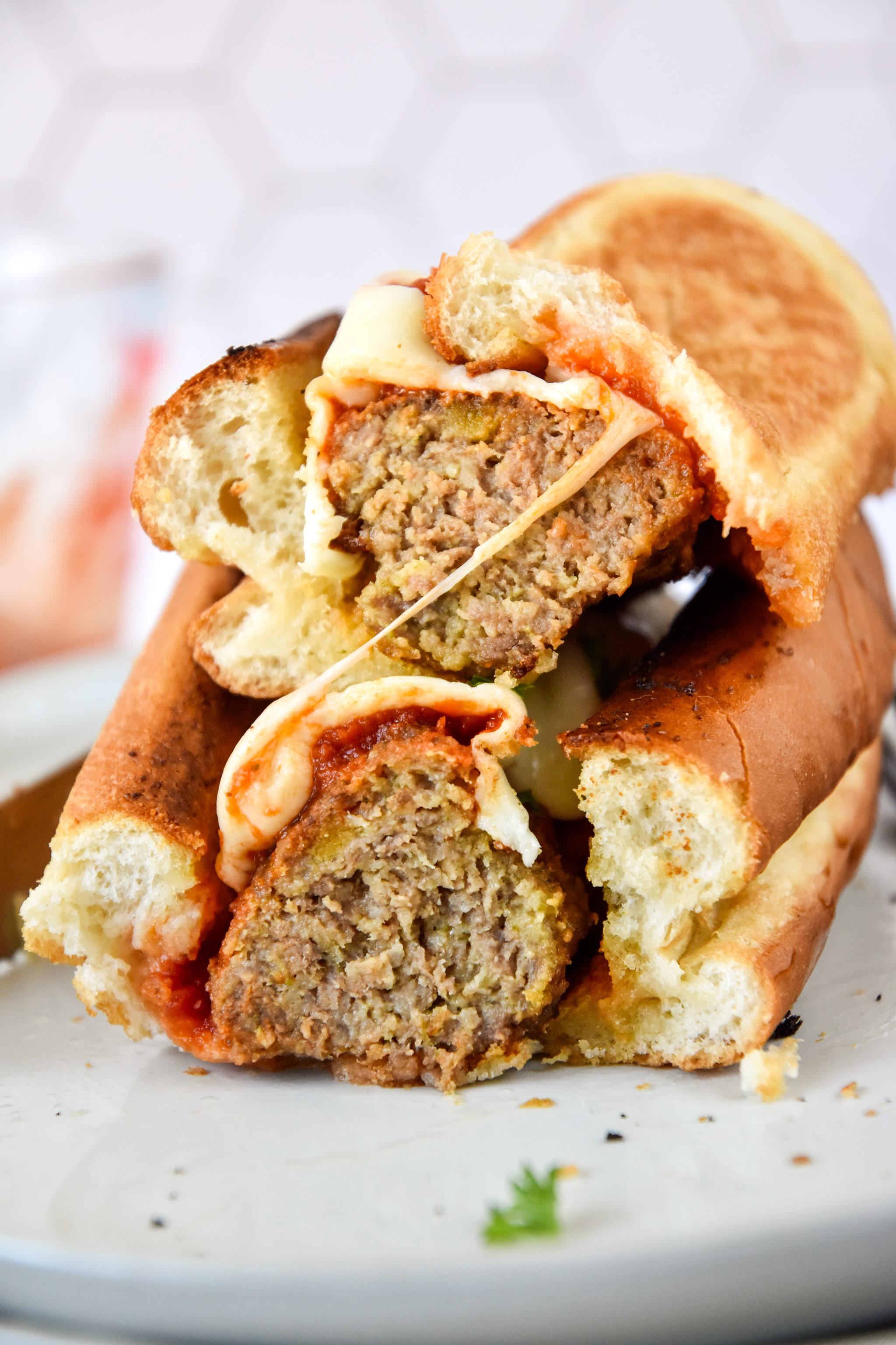 meatball sub sandwich with melty mozzarella cheese.