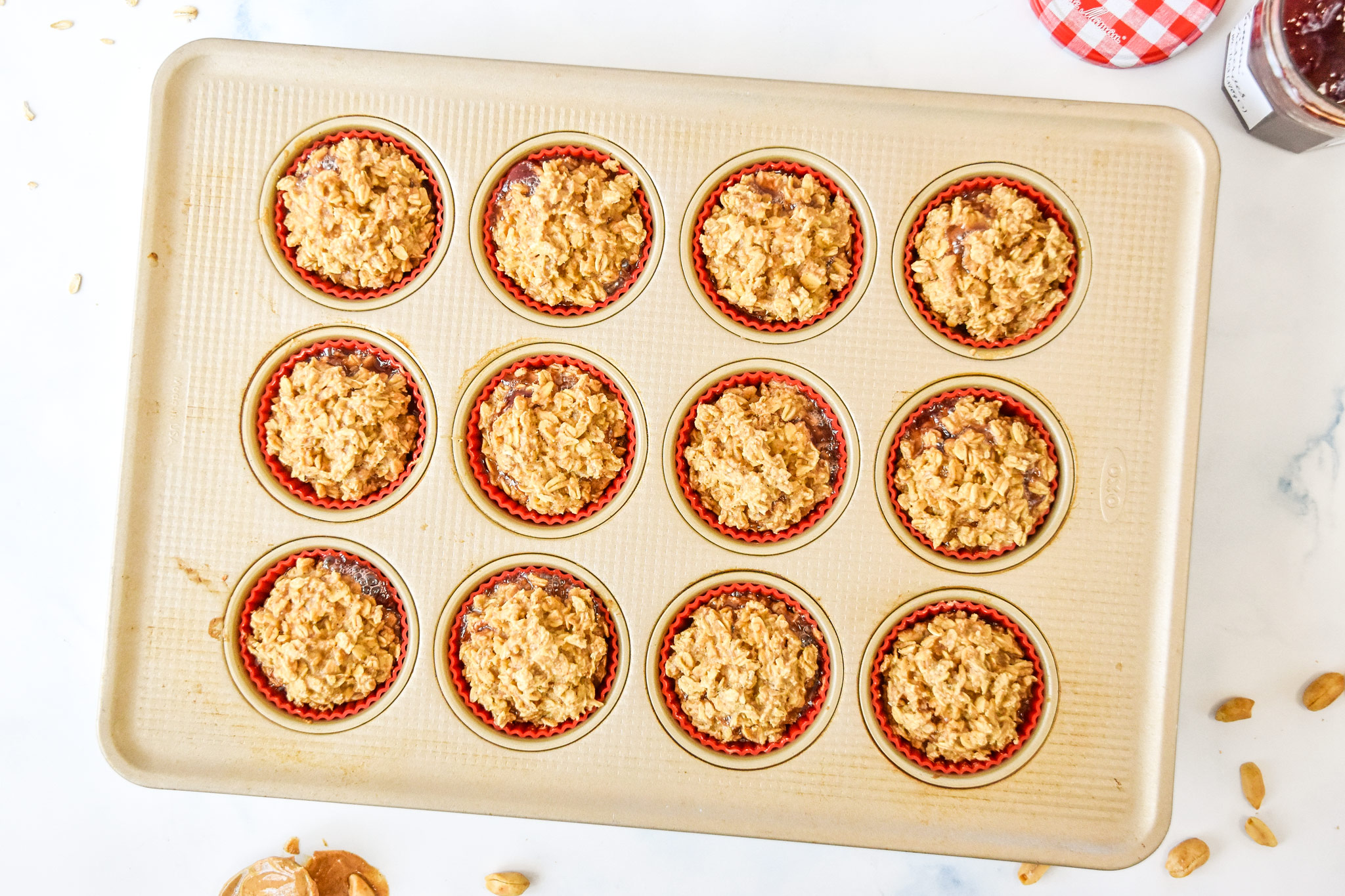 peanut butter & jelly baked oatmeal cups fresh from the oven.