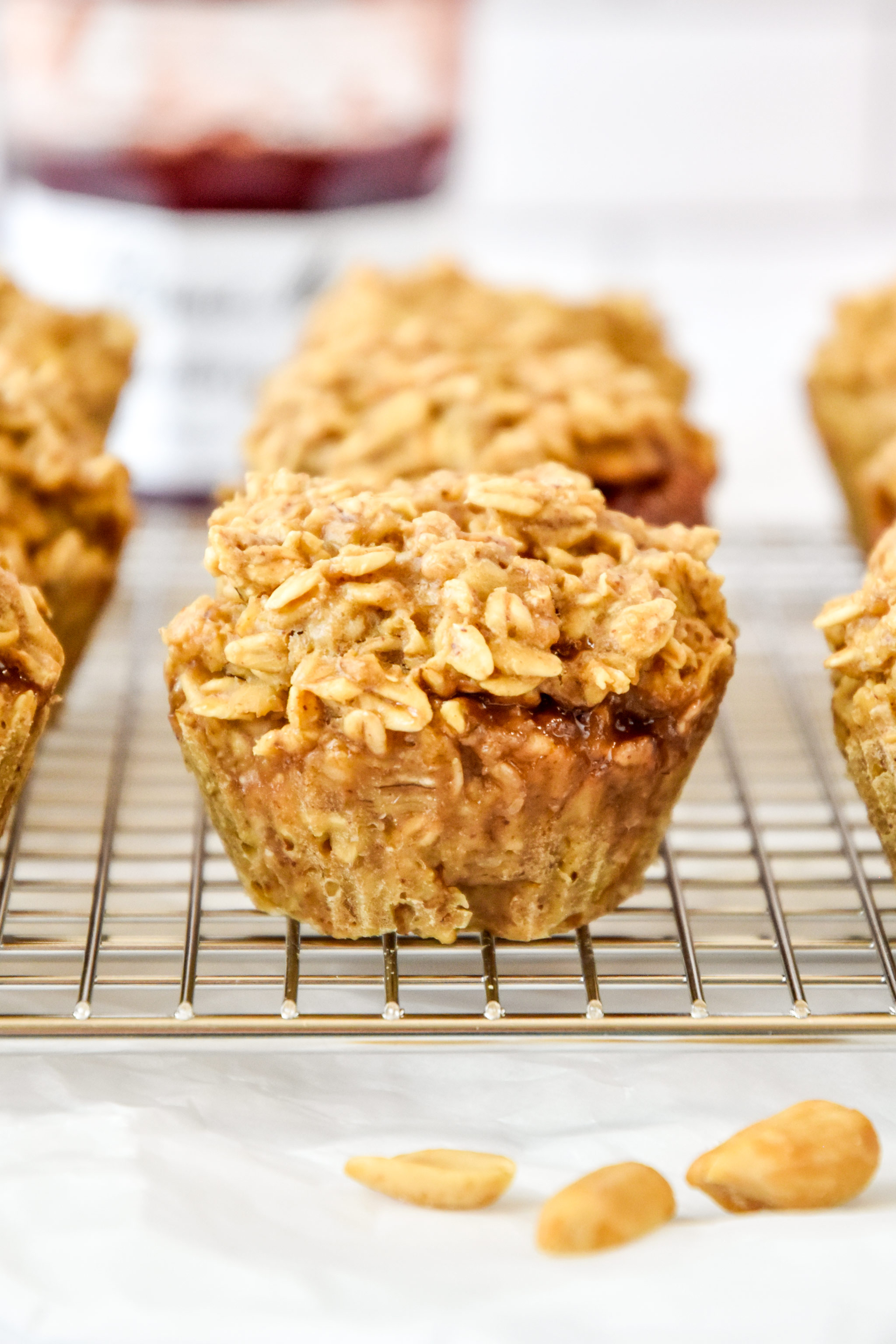 oatmeal cups on a cooling rack.