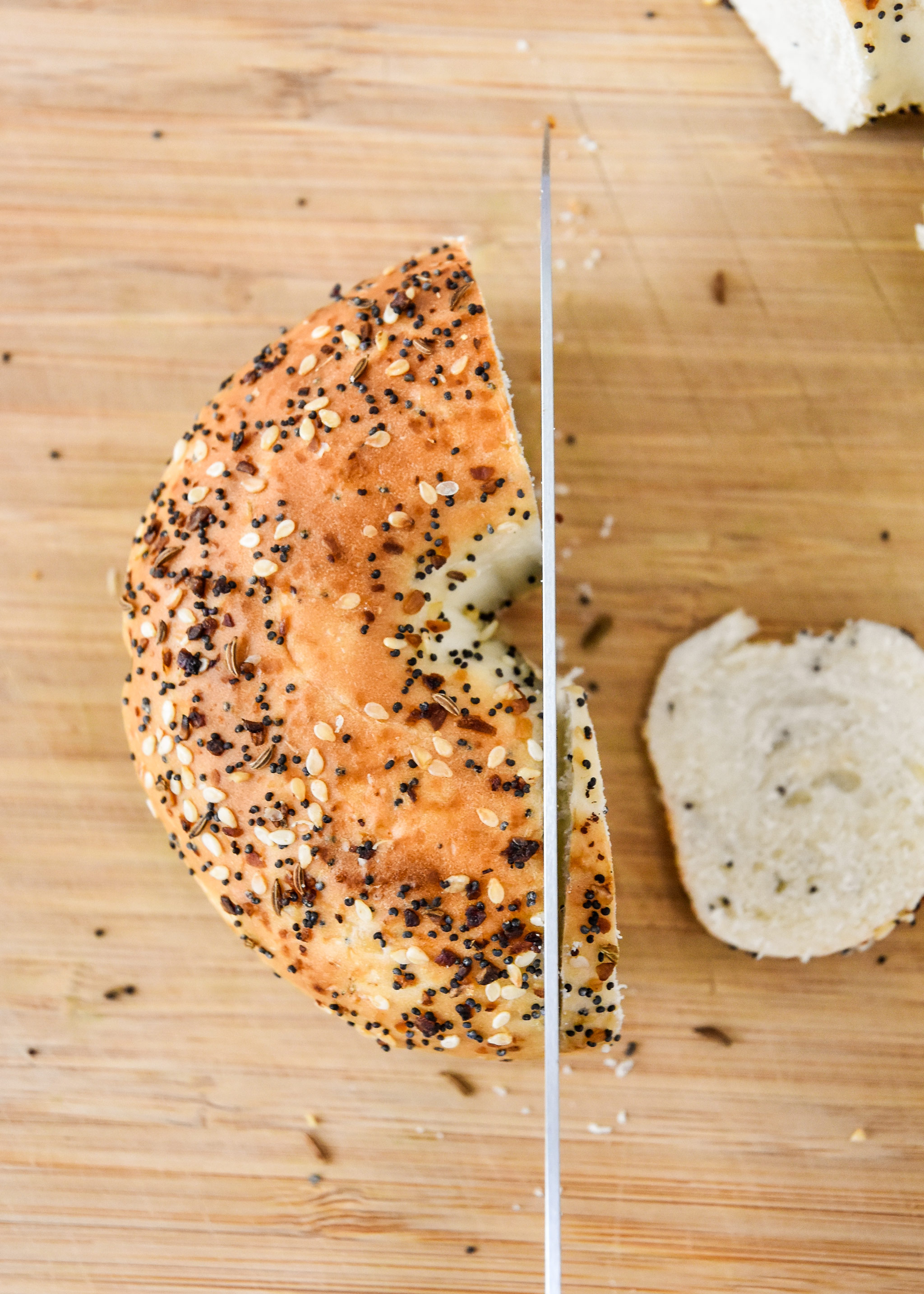 how to cut the bagel with a bread knife.