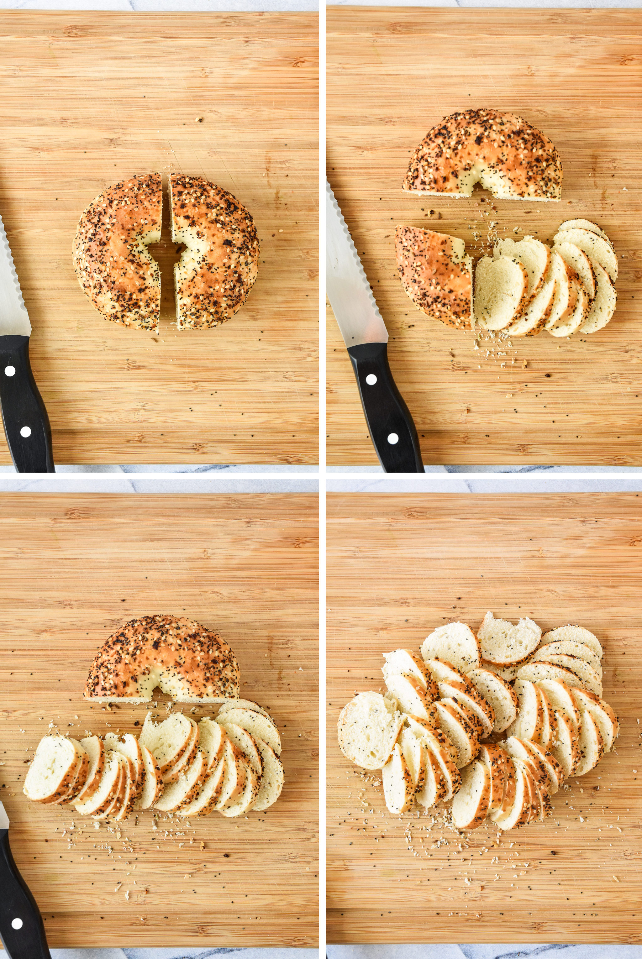 a diagram of how to cut the bagel for bagel chips.