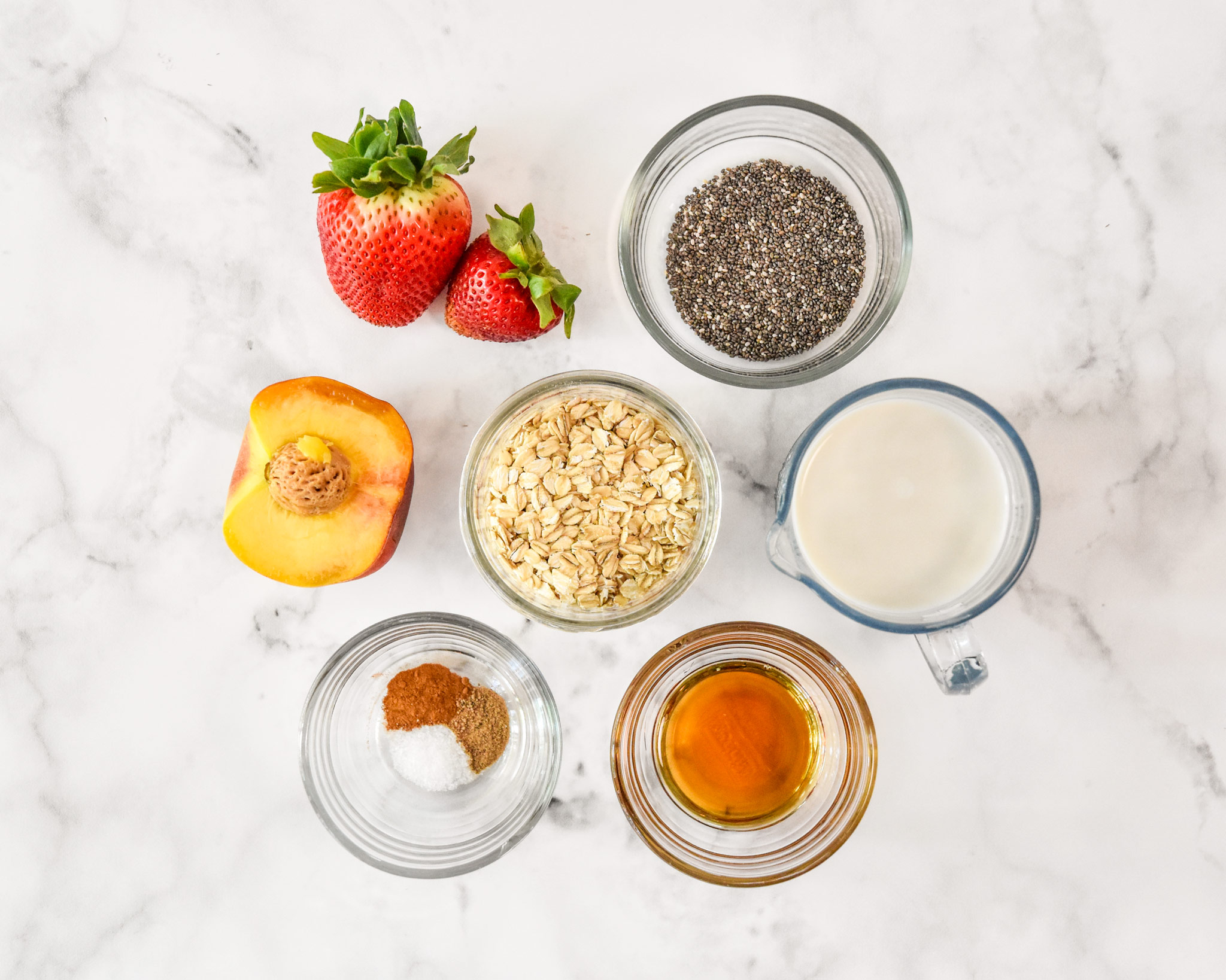 ingredients for one serving of strawberry peach overnight oats.