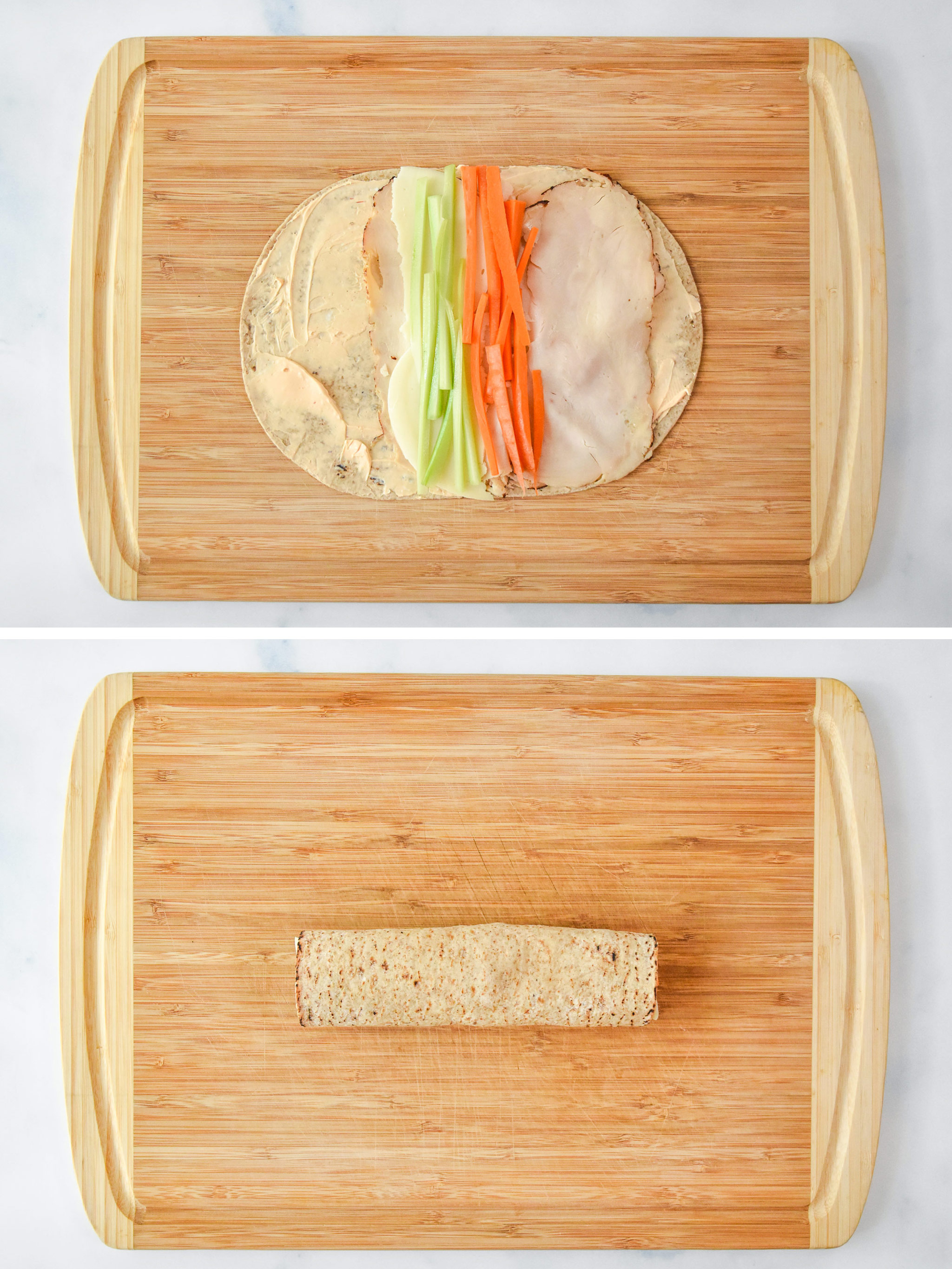 before and after rolling the buffalo chicken pinwheels.