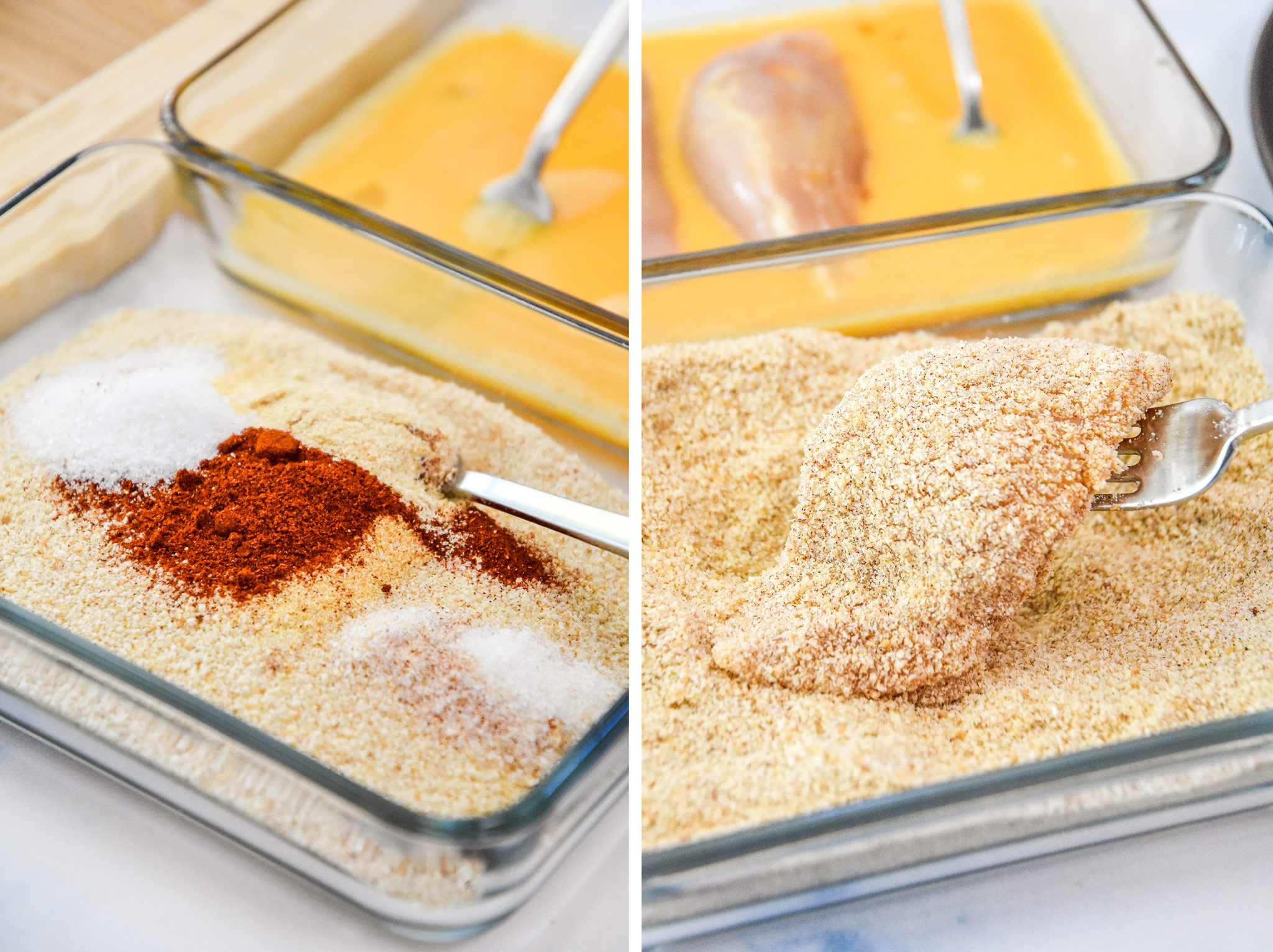 breading the chicken tenders with bread crumbs and spices.