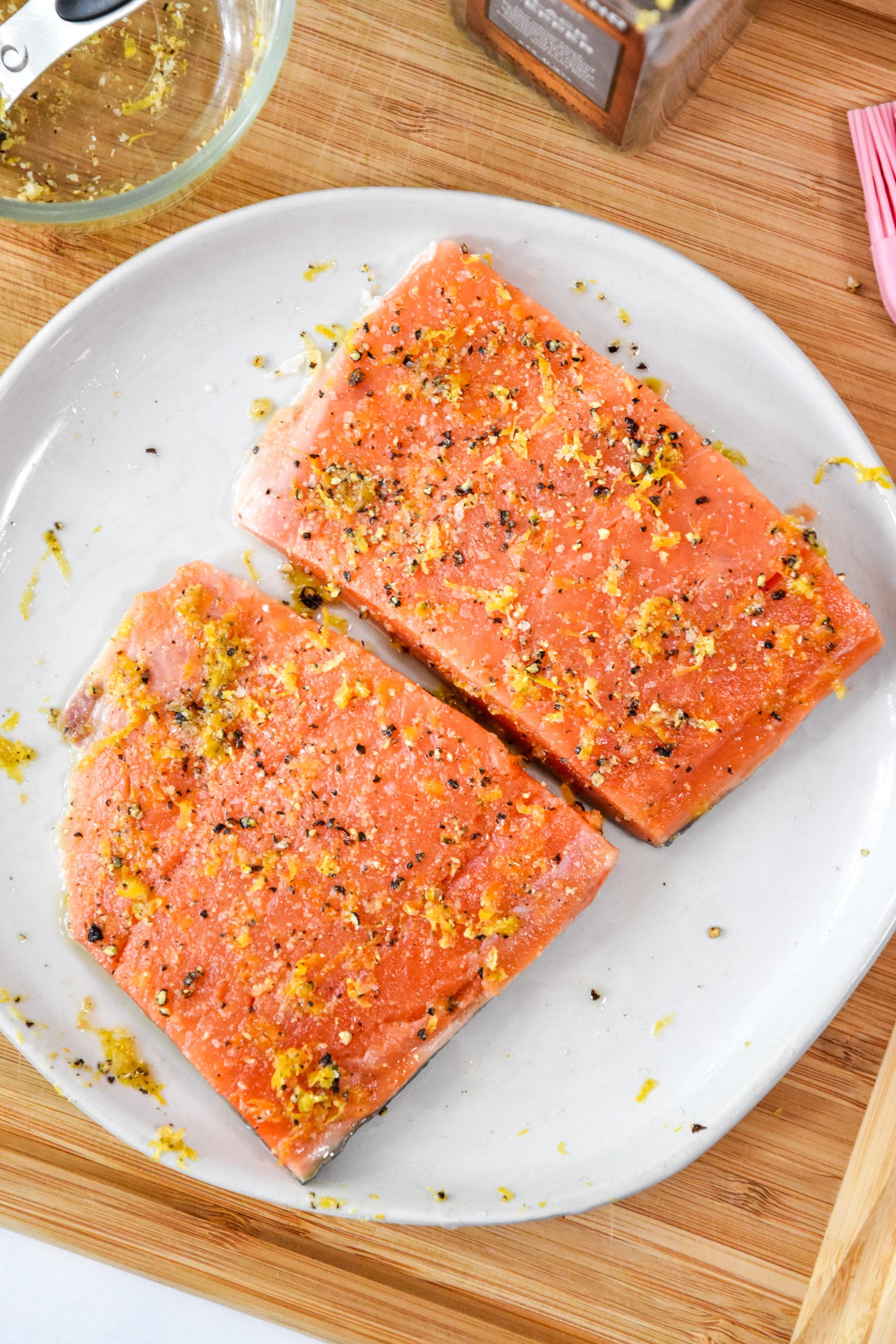 seasoned raw salmon for the air fryer lemon pepper salmon recipe.