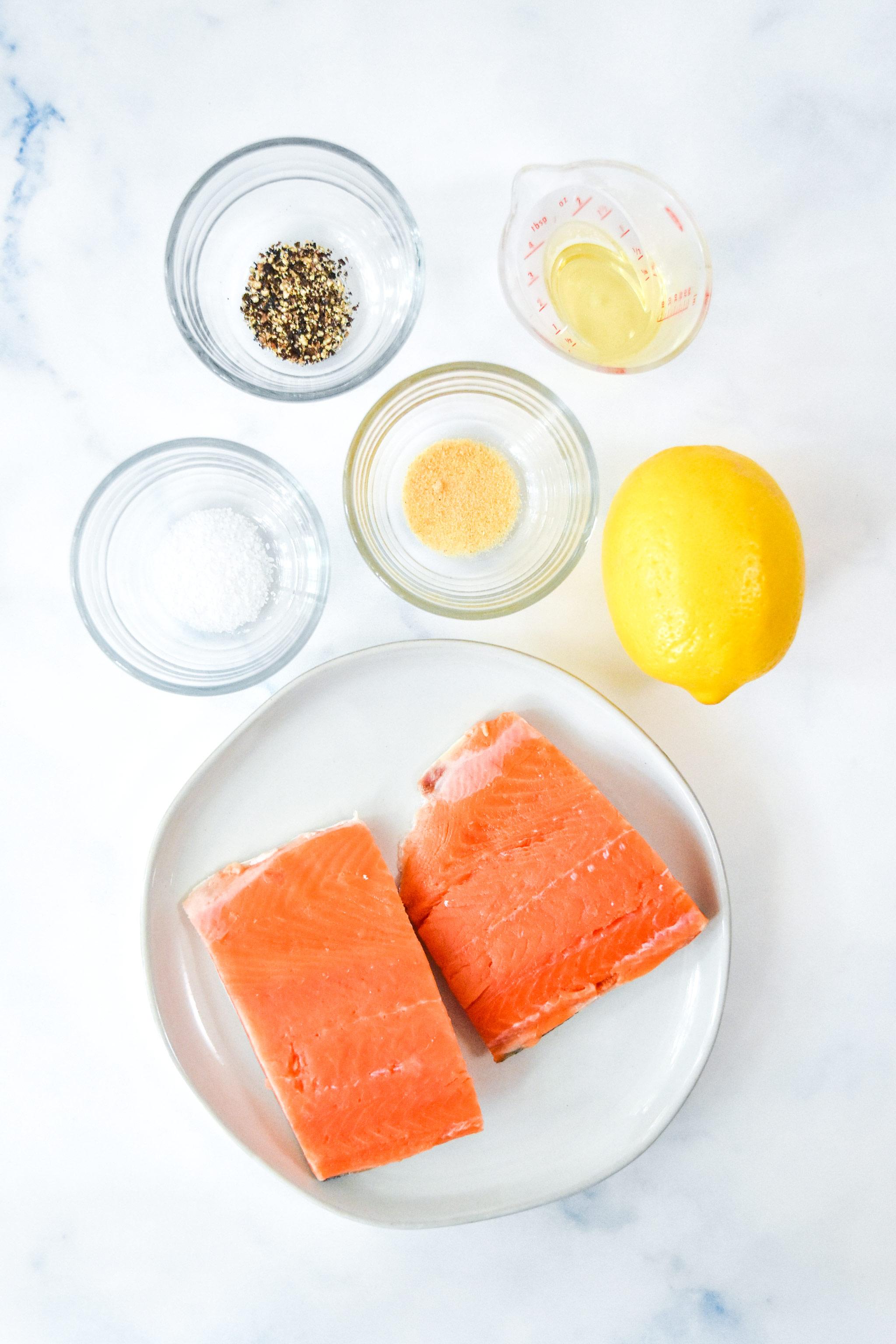ingredients used in the air fryer lemon pepper salmon recipe.