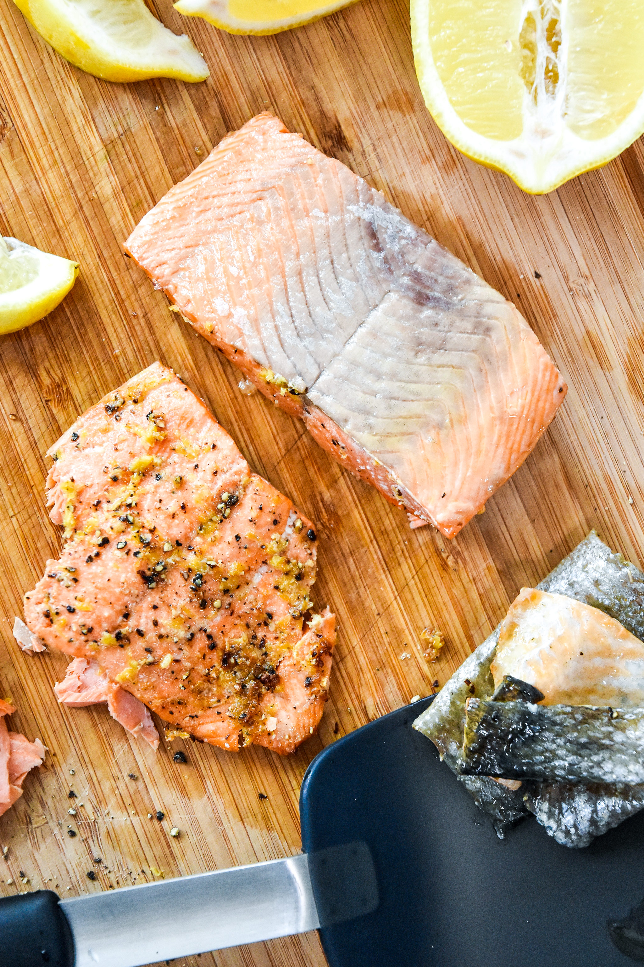 easily remove the skin from the cooked air fryer lemon pepper salmon.