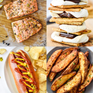 4 photos of easy air fryer recipes including salmon, smores, hot dogs, and potato wedges.