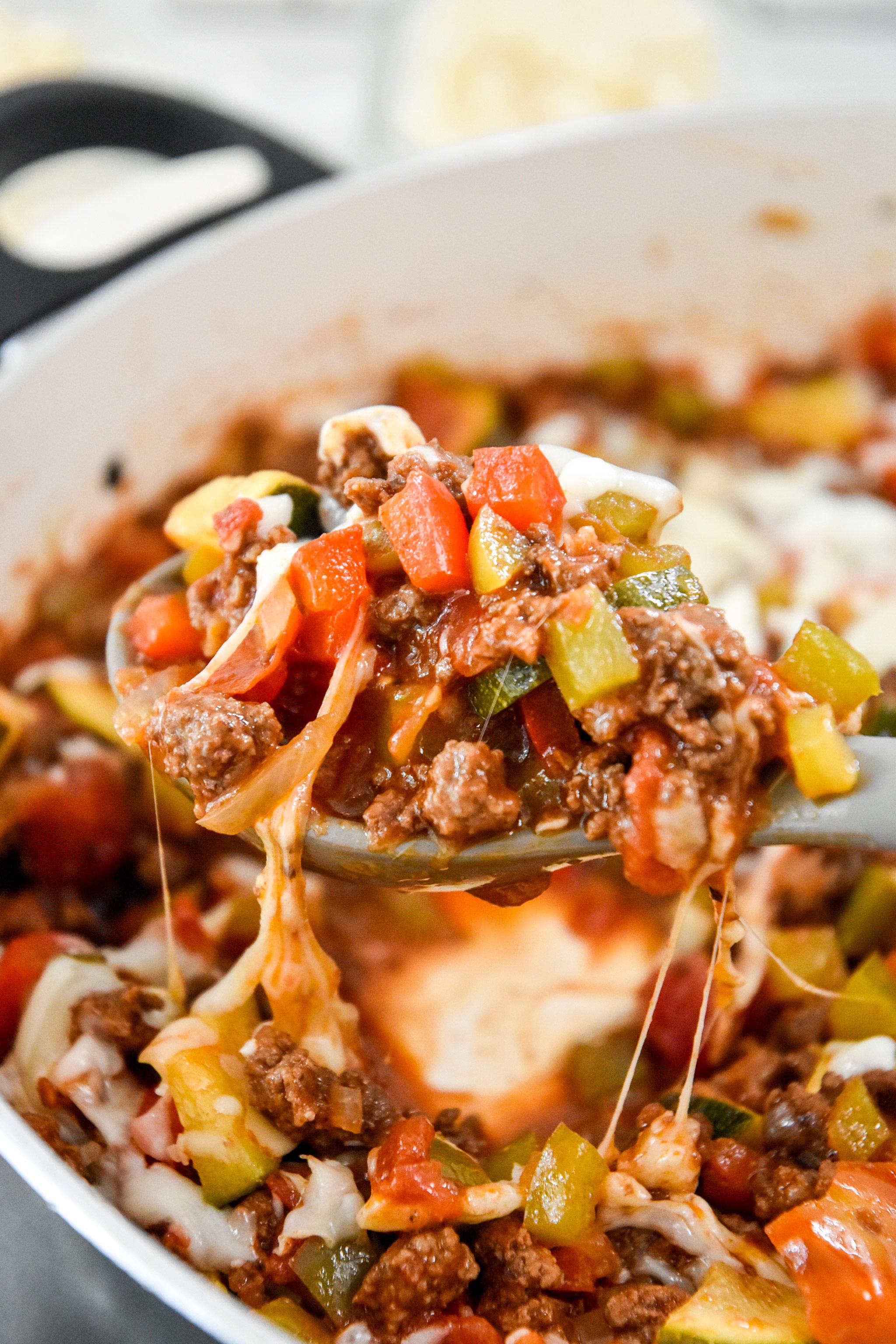 a big spoonful of meal prep unstuffed pepper bowl mixture.