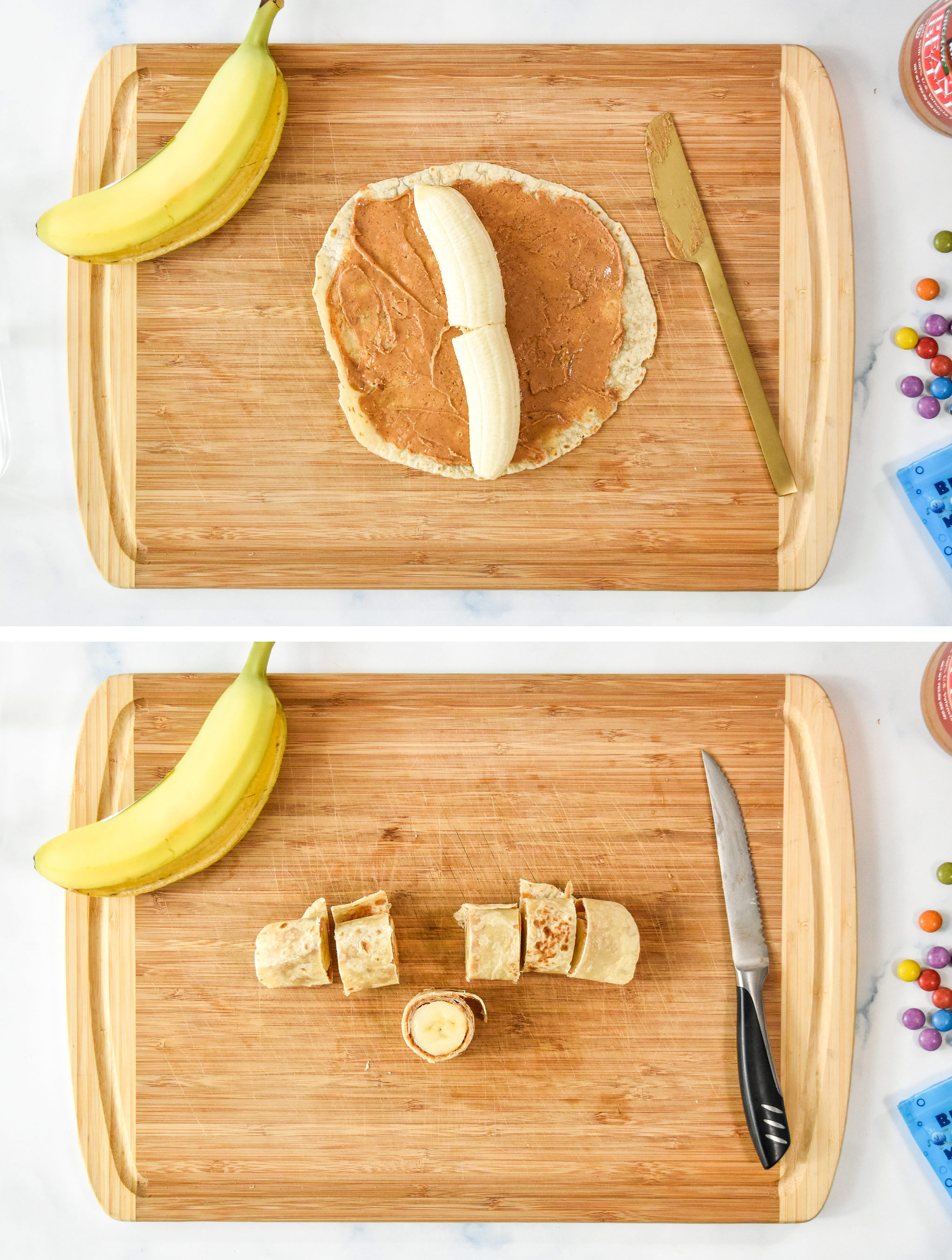 before and after rolling up a banana in a tortilla covered with peanut butter.